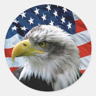 Patriotic Bald Eagle American Flag Classic Round Sticker