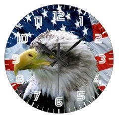 Patriotic Bald Eagle American Flag Clock