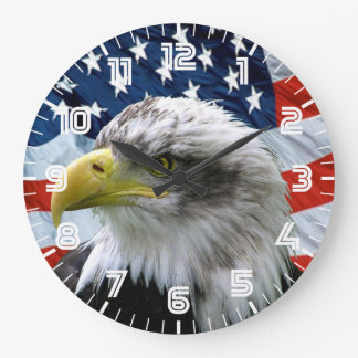 Patriotic Bald Eagle American Flag Wall Clock