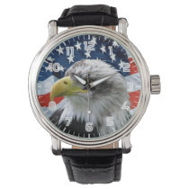 Patriotic Bald Eagle American Flag Watch