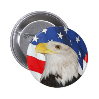 Patriotic Bald Eagle and American Flag Pinback Button