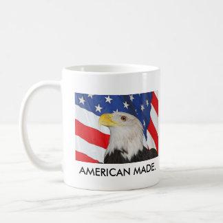 Patriotic Bald Eagle and American Flag Classic White Coffee Mug