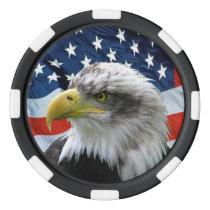 Patriotic Bald Eagle and American Flag Poker Chips Set