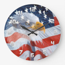 Patriotic Bald Eagle and The American Flag Large Clock