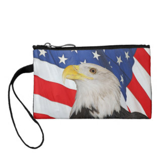 Patriotic Bald Eagle and Waving American Flag Coin Purse