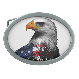 Patriotic Bald Eagle draped in the American Flag Belt Buckle