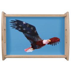 Patriotic Bald Eagle Flag Serving Tray