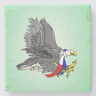 Patriotic Bald Eagle Illustration Stone Coaster
