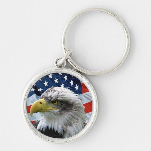 Patriotic Bald Eagle Keychain