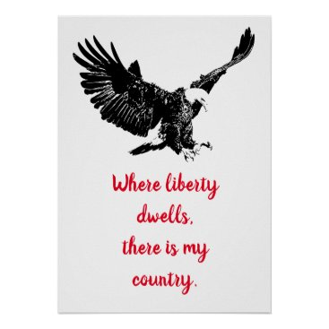 Patriotic Bald Eagle Motivational USA Liberty Poster