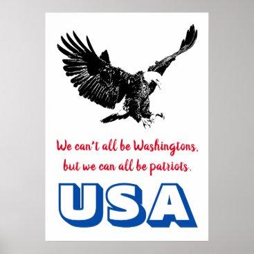 Patriotic Bald Eagle Motivational USA Pop Art Poster
