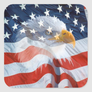 Patriotic Bald Eagle On The American Flag Square Sticker