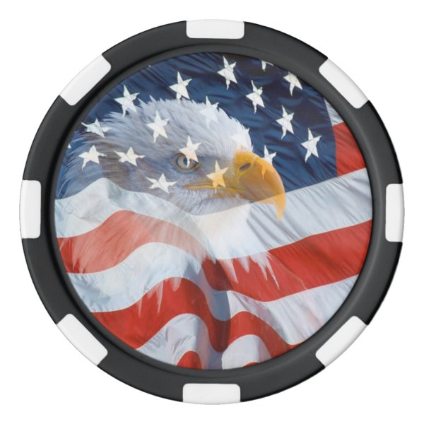 Patriotic Bald Eagle Over The American Flag Set Of Poker Chips