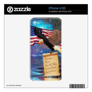 Patriotic Bald Eagle & US Flag Freedom Design Skins For The iPhone 4