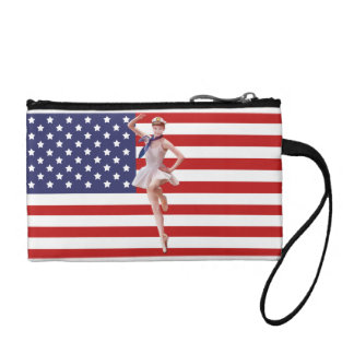 Patriotic Ballerina, American Flag Coin Wallets