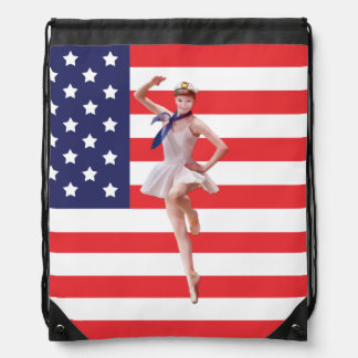 Patriotic Ballerina and USA Flag Drawstring Bag