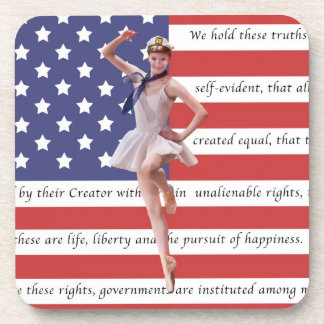 Patriotic Ballerina and USA Flag Set of 6 Coasters
