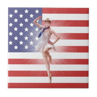 Patriotic Ballerina and USA Flag Tile