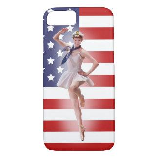 Patriotic Ballerina with American Flag iPhone 8/7 Case