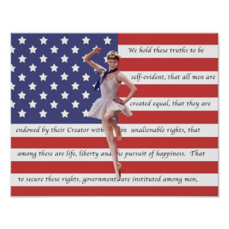 Patriotic Ballerina with American Flag Print