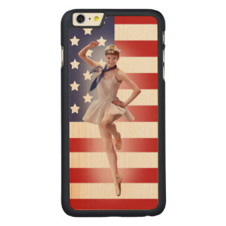 Patriotic Ballerina with American Flag Carved® Maple iPhone 6 Plus Slim Case