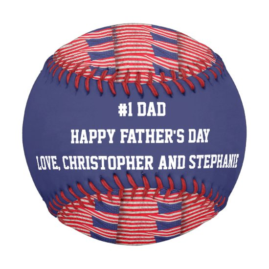 Patriotic Baseball, #1 Dad, Father's Day, Flags Baseball