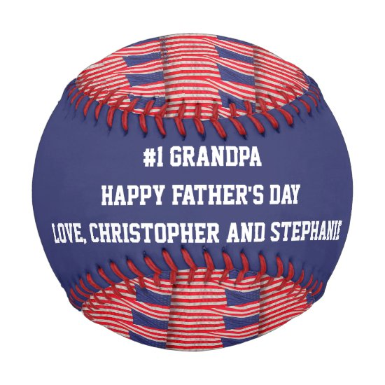 Patriotic Baseball #1 Grandpa, Father's Day, Flags