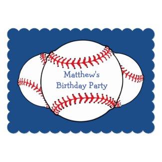 Patriotic Baseball Birthday Party Invitation