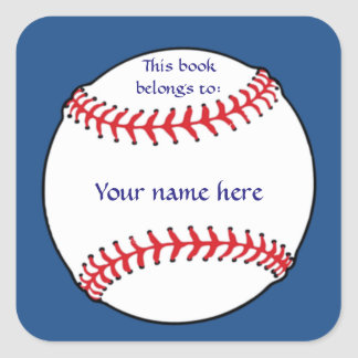 Patriotic Baseball Bookplate Sticker