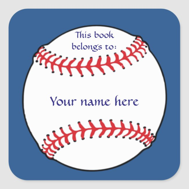 Patriotic Baseball Bookplate Sticker