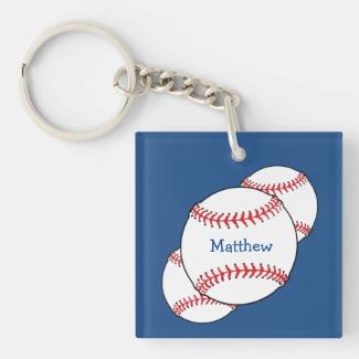 Patriotic Baseball Keychain