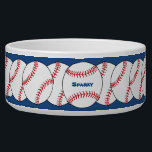 "Patriotic Baseball Pet Bowl<br><div class=""desc"">This patriotic pet bowl features red and white baseballs on a blue background for a special sports fan&#39;s pet. Easily customize the name or just delete it.</div>"
