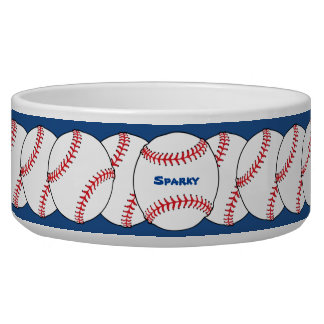 Patriotic Baseball Pet Bowl