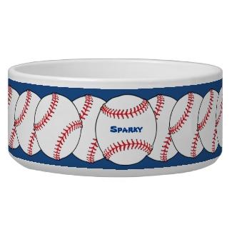 Patriotic Baseball Pet Bowl
