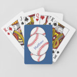 "Patriotic Baseball Playing Cards<br><div class=""desc"">This set of patriotic playing cards features red and white baseballs surrounded by a blue background. Easily personalize the text for a special sports fan or remove entirely. Customize the blue background to the color of your choice.</div>"