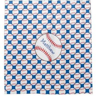Patriotic Baseball Red, White, Blue Shower Curtain
