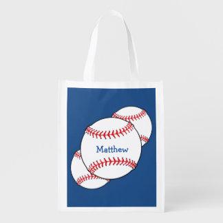 Patriotic Baseball Reusable Bag Market Totes