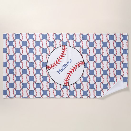 Patriotic Baseball Sports Beach Towel