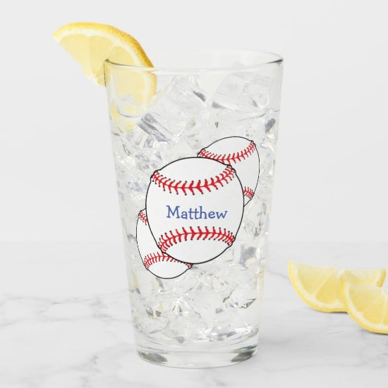 Patriotic Baseball Sports USA Glass Tumbler