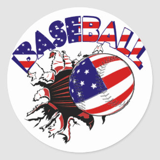 PATRIOTIC BASEBALL USA FLAG GIFTS CLASSIC ROUND STICKER