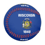Patriotic baseball with flag of Wisconsin State