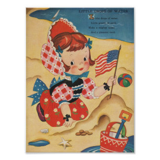 Patriotic Beach Girl Poster