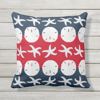 Patriotic Beach Starfish Sand Dollar Pattern Decor Throw Pillows