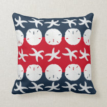 Patriotic Beach Starfish Sand Dollar Pattern Decor Throw Pillow