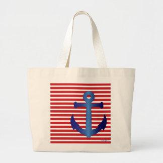 Patriotic Beach Wedding Cute Trendy Anchor Stripes Large Tote Bag
