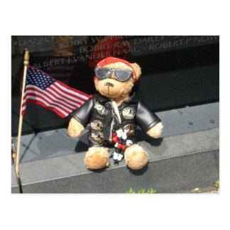 Patriotic Bear Left at Vietnam Veterans Memorial Postcard