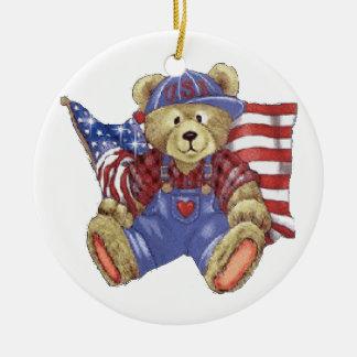Patriotic Bear Christmas Ornaments