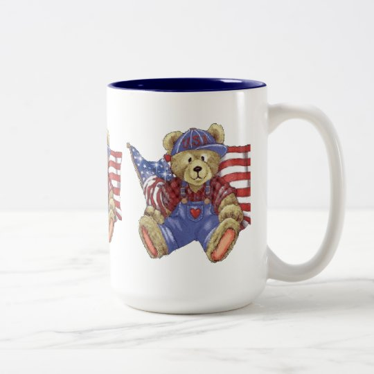 Patriotic Bear Two-Tone Coffee Mug