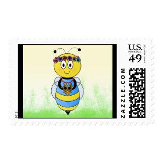 Patriotic Bee Postmark Postage