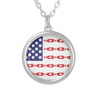 Patriotic Beer Bottles Silver Plated Necklace